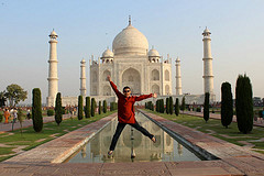 Girl jumping in India