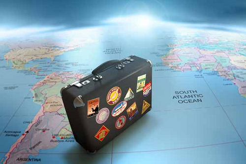 Travel Suitcase/ Map