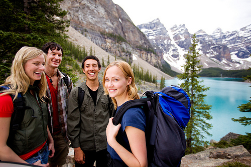 A group of friends on a hiking, Canada