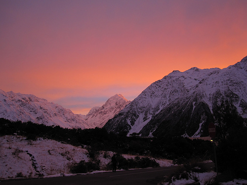 Sunset in snowy mountains of New Zealand