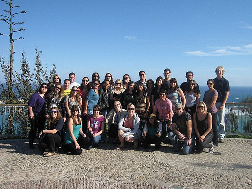 Group of people touring Europe