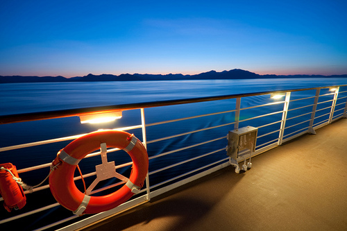 Railing view from cruise ship