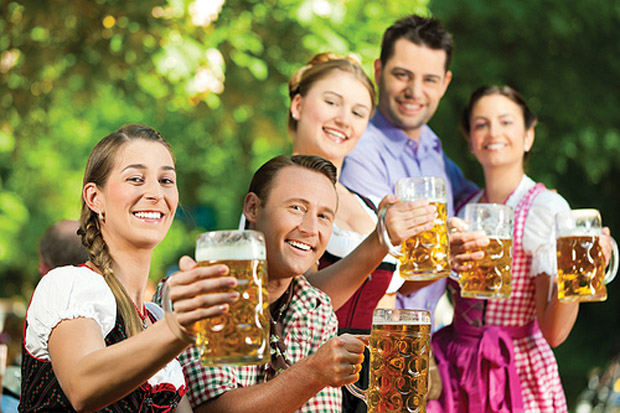5 people in Germany with beer mugs