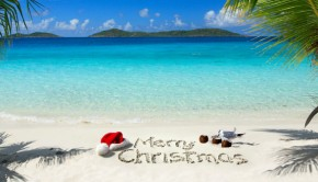 Merry Christmas in the sand on a beach