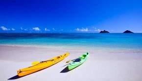 Two kayaks on Lanikai beach