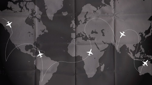 Round the world flights map