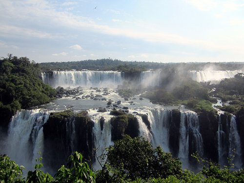 Waterfalls in Argentina in the sunshine