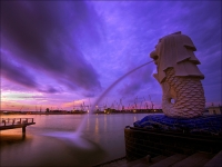 Singapore fountain at sunset
