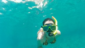 Girl snorkeling in Curacao