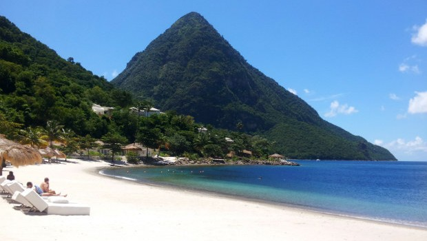White sand beach in St Lucia