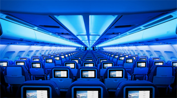 Cabin view of new Air Transat economy plane