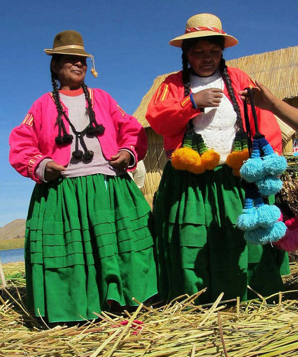 Women in Lake Titicaca Peru