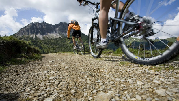 Mountain biking view from the ground