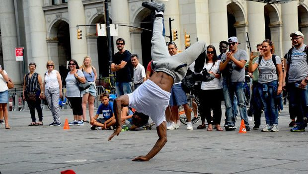 Break dancer in New York City