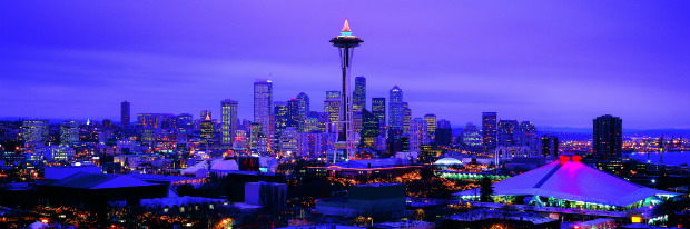 Blue Seattle skyline at night