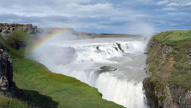 Waterfall with a rainbow at Gulfoss Waterfall Iceland