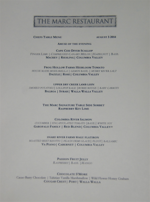 Marc restaurant Menu