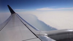 Wing of airplane in the air