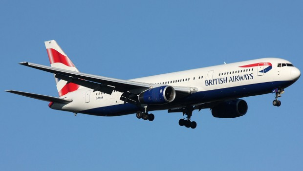 British Airways plane in the sky