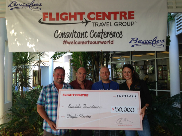 flight centre cheque for Sandals Foundation