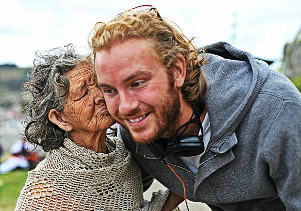 michael with old woman in ecudaor