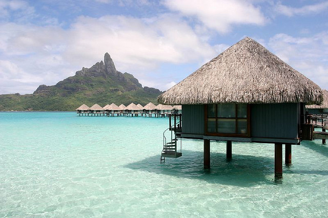 bungalow and lagoon