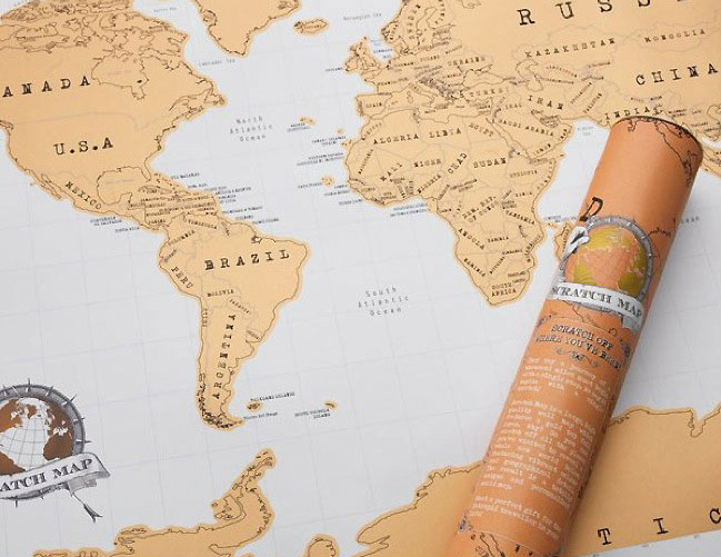 Top 10 gift ideas for a travel addict whats more fun than a scratch map this classic world map displays all the countries which are each topped with a scratch off foil surface so you can show gumiabroncs Choice Image