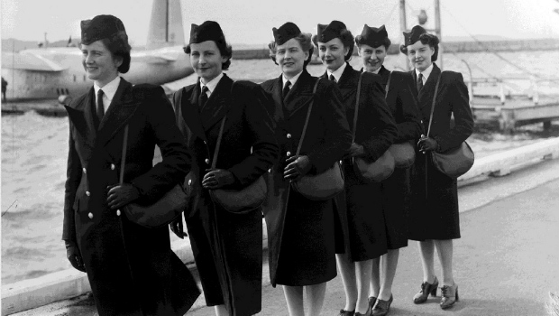 Five flight attendants for Air New Zealand 75th anniversary