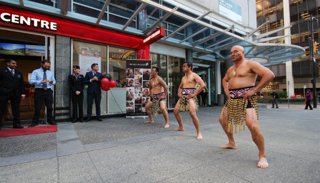 Maori dancers at Flight Centre Ultra Shop