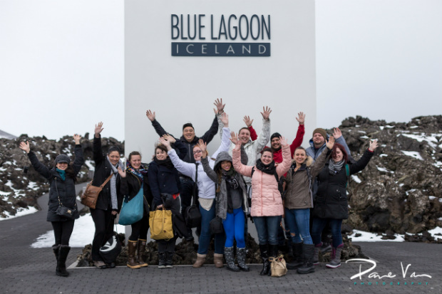 travellers at blue lagoon Iceland