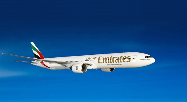Emirates airplane in the sky