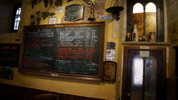 restaurant menu board in rome italy