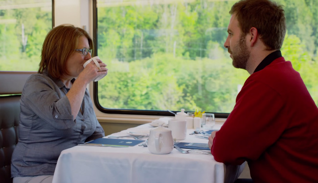 tobin and mom eating on rocky mountaineer
