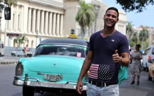 man on street in Cuba