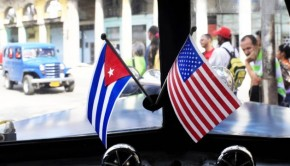 Cuba and USA flags on dashboard