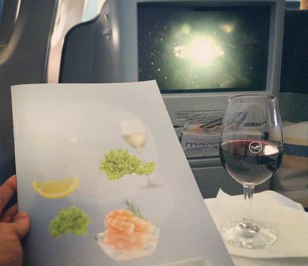 in flight wine and menu