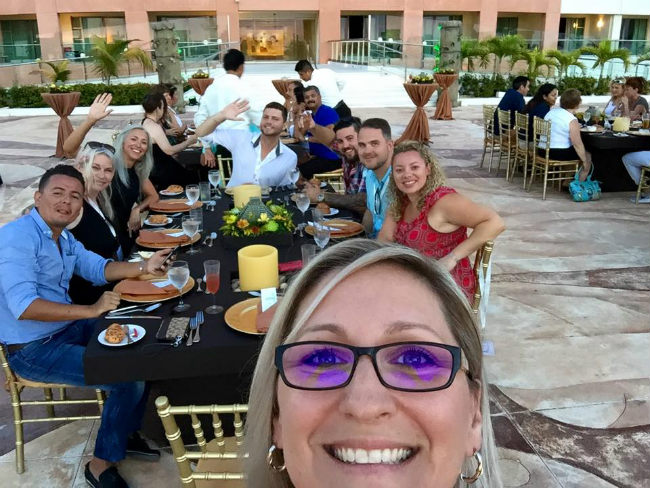 travel agents at dinner in Mexico LeBlanc Spa Resort