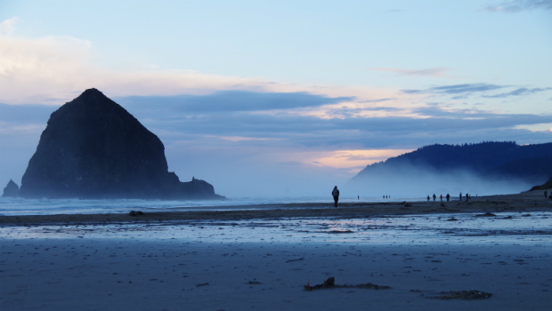 Walking on Cannon beach in Oregon