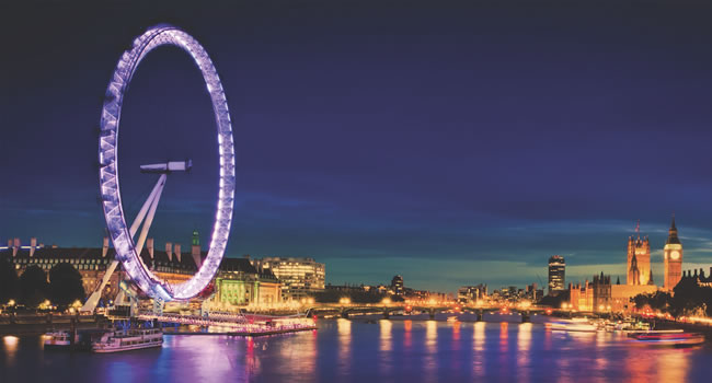 London wheel at night