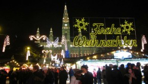 Outside the Christmas market in Austria