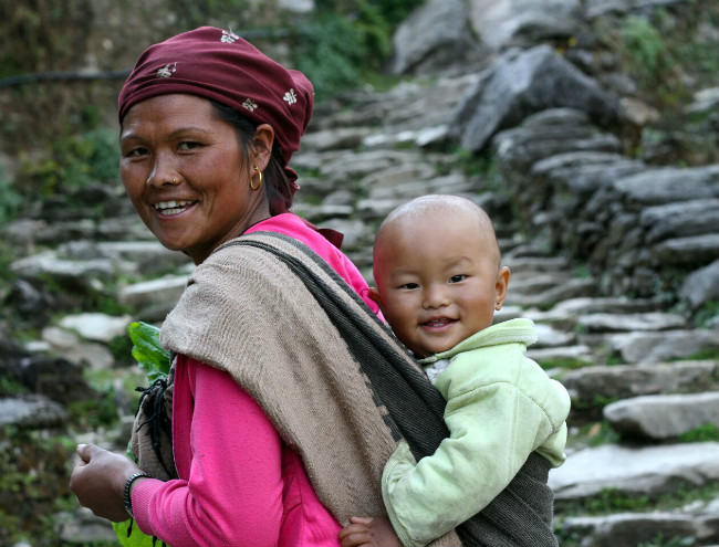 nepal woman and child