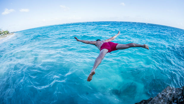starfish jump into the caribbean