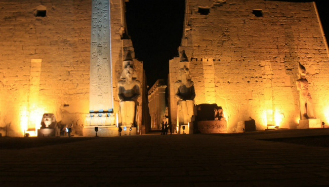 Luxor temple at night in egypt