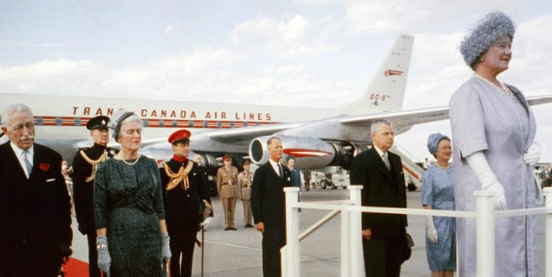 trans canada airlines queen boarding on red carpet
