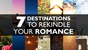 Romantic travel destinations banner