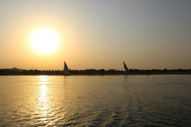 sunset on the nile river egypt
