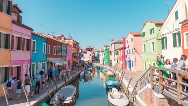 Colorful homes in Venice Italy