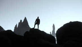 Silhouette of man on a mountain
