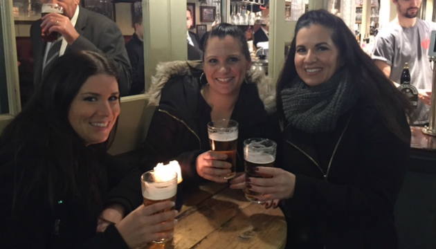 Neena and friends drinking in a London pub