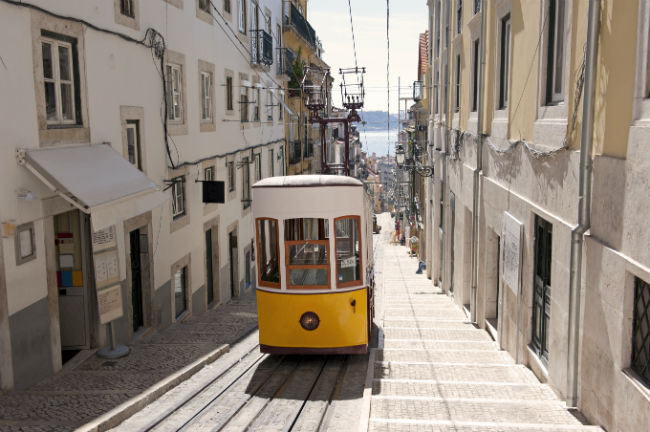 train on a track in lisbon portugal
